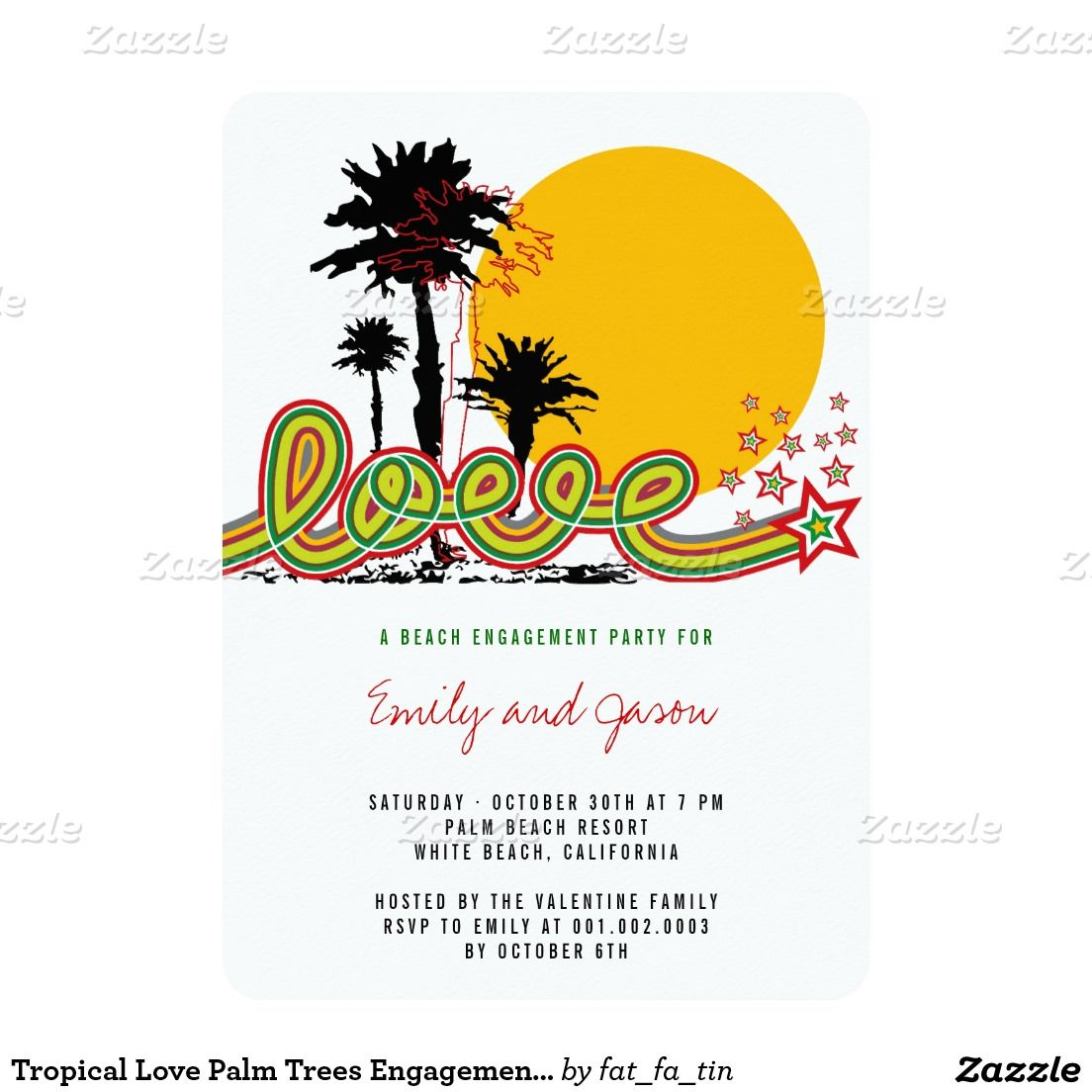 Tropical Love Palm Trees Engagement Party Invite