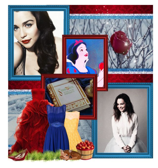 """""""Over the seven jewelled hills, beyond the seventh fall, in the cottage of the Seven Dwarfs, dwells Snow White, fairest of them all."""" by disney-parxdise ❤ liked on Polyvore featuring art"""