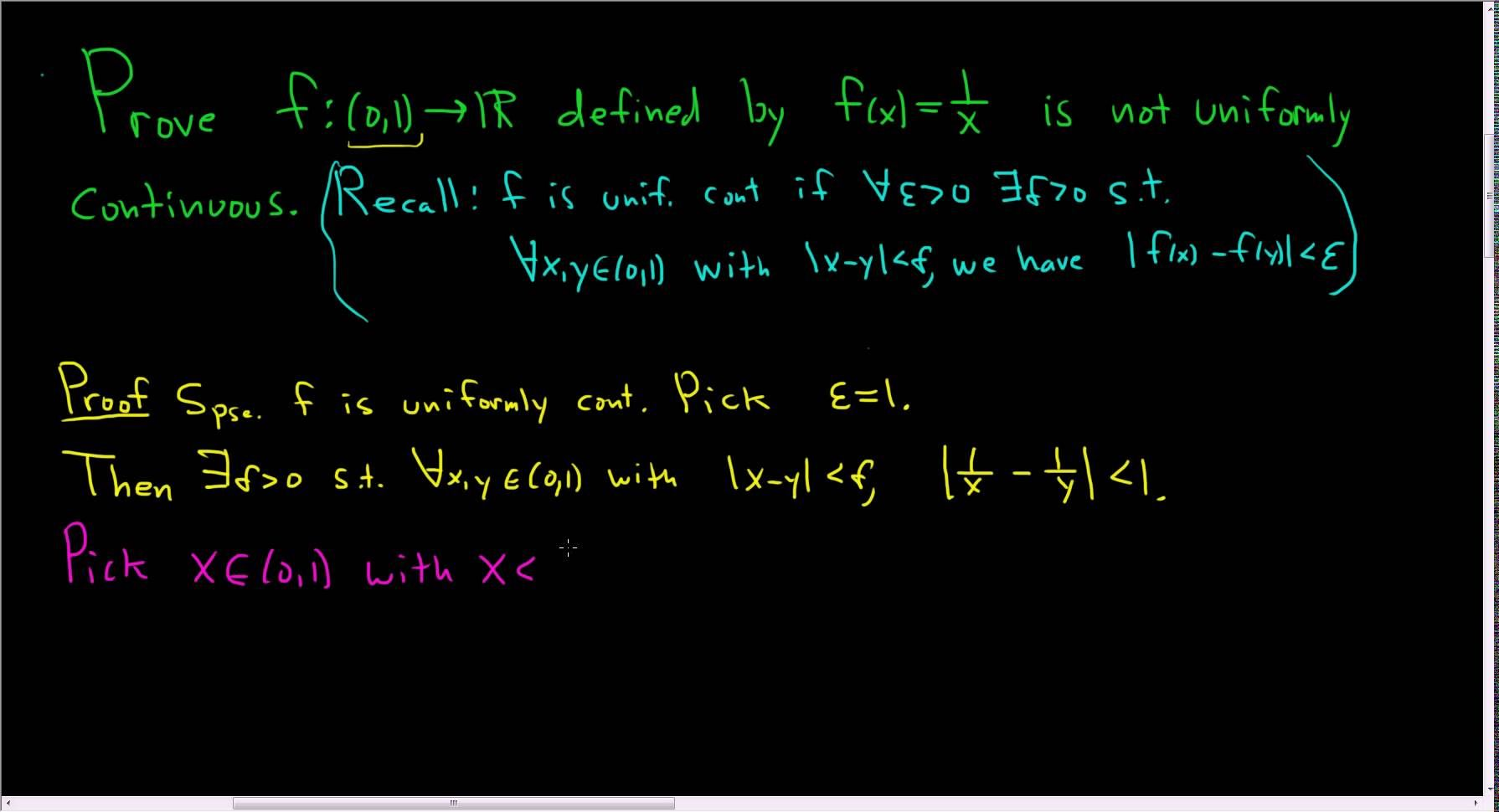 Proof That F X 1 X Is Not Uniformly Continuous On 0 1 Maths Exam Continuity Calculus