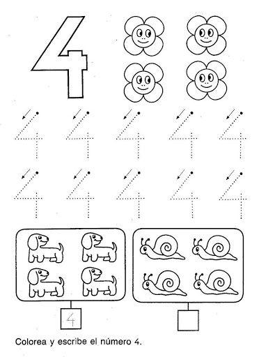 FICHAS PARA PINTAR Y APRENDE EL NUMERO 4 | Educación | Pinterest ...