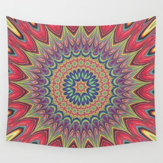 Flame mandala wall tapestry