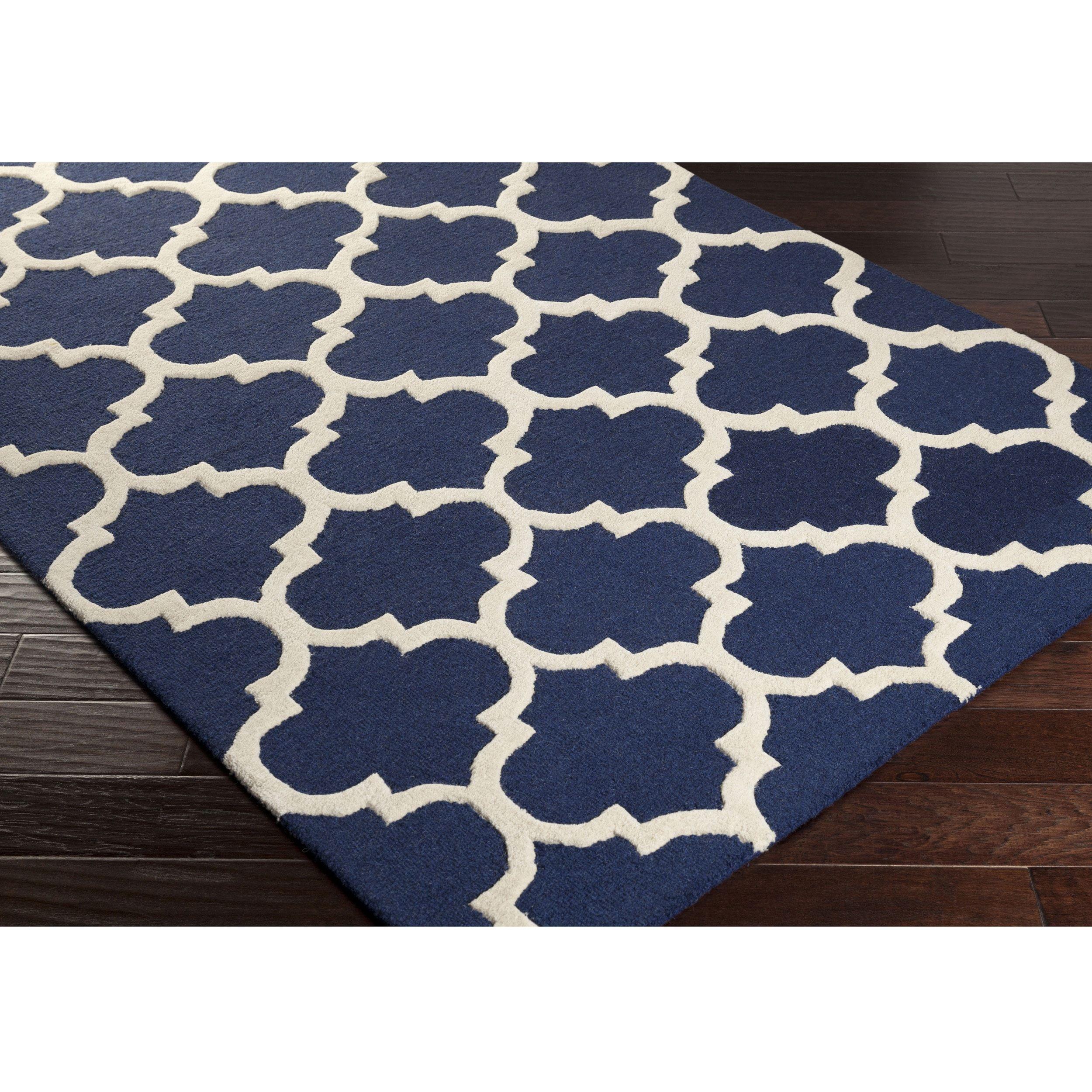 Hand Tufted Till Moroccan Trellis Wool Rug 2 X 3 Navy Blue