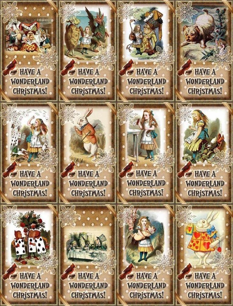 12 CHRISTMAS ALICE IN WONDERLAND - VINTAGE LOOK - PAPER CRAFT CARD TAG SCRAPBOOK in Crafts, Scrapbooking & Paper Crafts, Embellishments | eBay