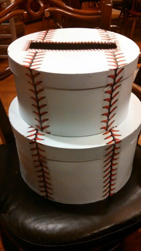 Baseball Gift Card Box Is Two Craft Boxes Painted White With
