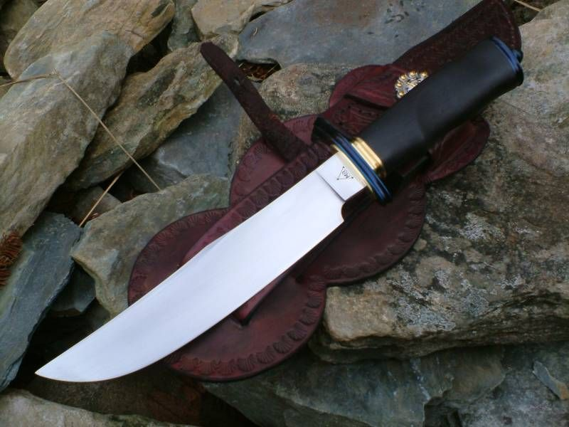 Southwest Bowie. Forged 5160 blade.Fire blued fittings,brass spacers.African…