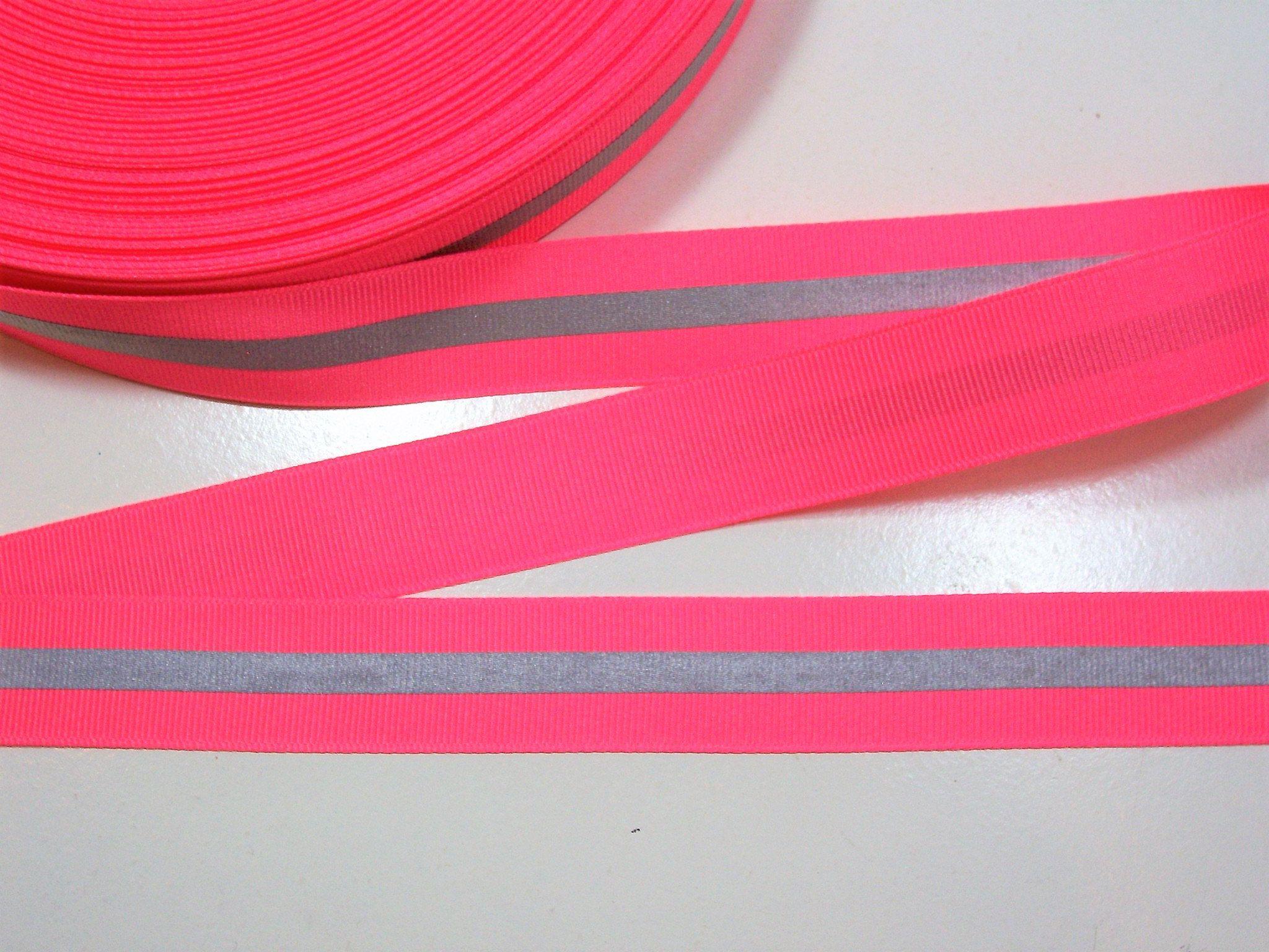 Neon Pink Ribbon Pink With Gray Stripe Grosgrain Ribbon 7 8 Inch