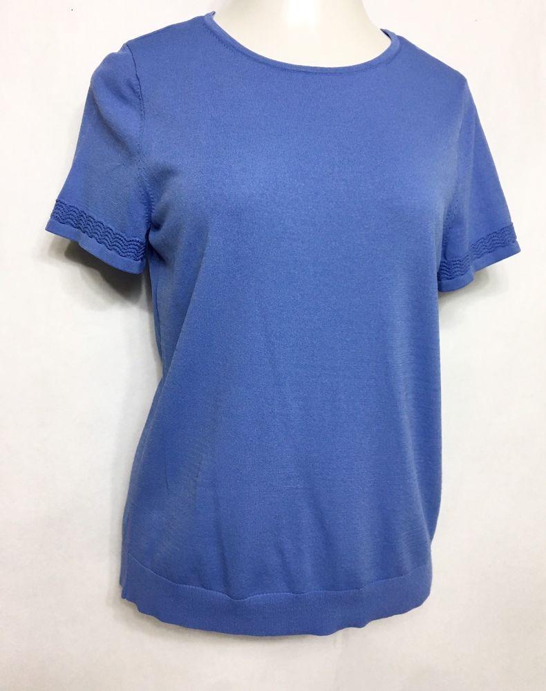 d979447f368b4 LANDS' END Womens Periwinkle Blouse Size M 10-12 / SS Knit Shirt #LandsEnd  #Blouse #Casual