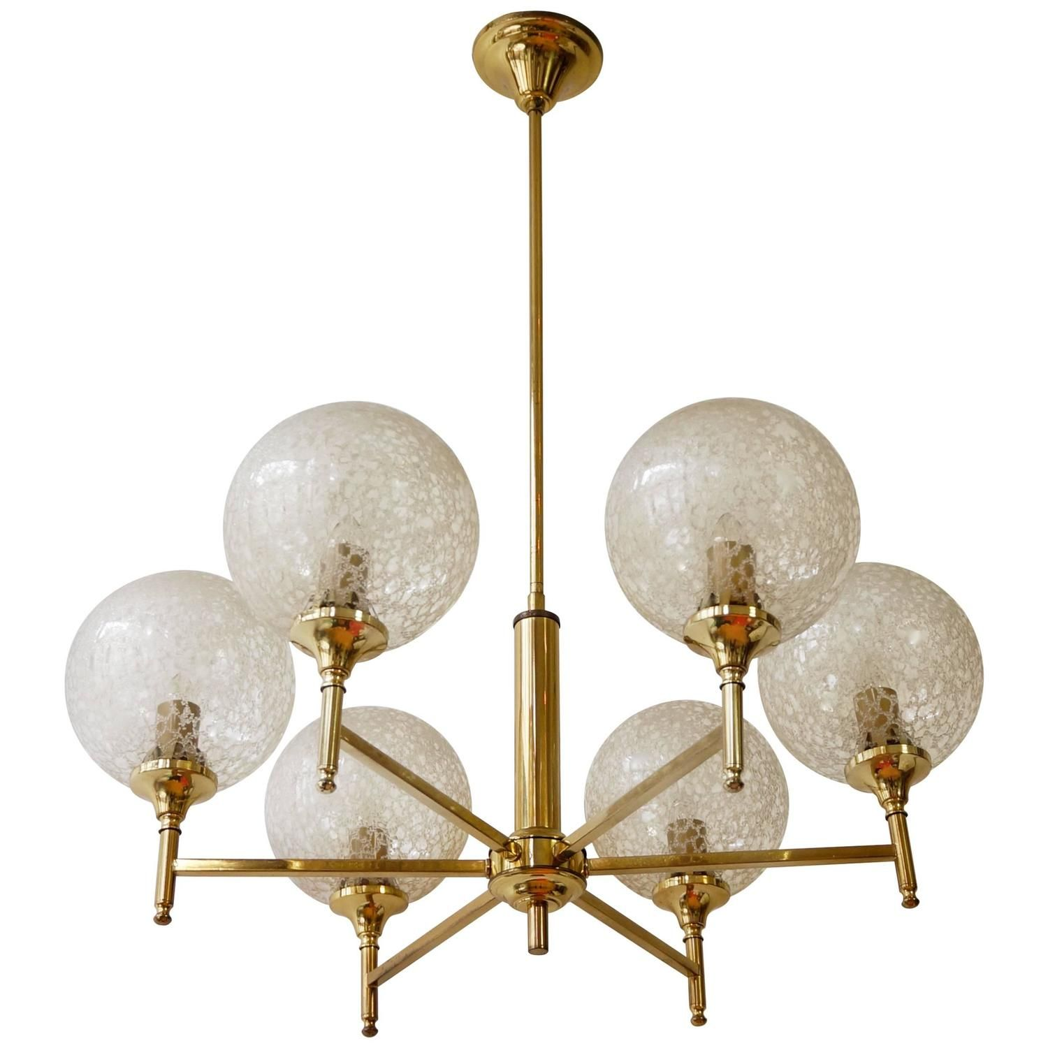 Lustre Moderne.ro Murano Globe Glass And Brass Chandelier Appliques