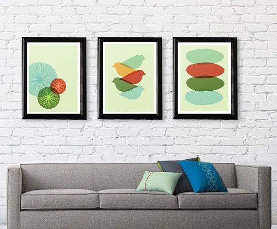 Perfect Mid Century Modern Bird Art Print // Free Por FatEyeDesign, $23.00