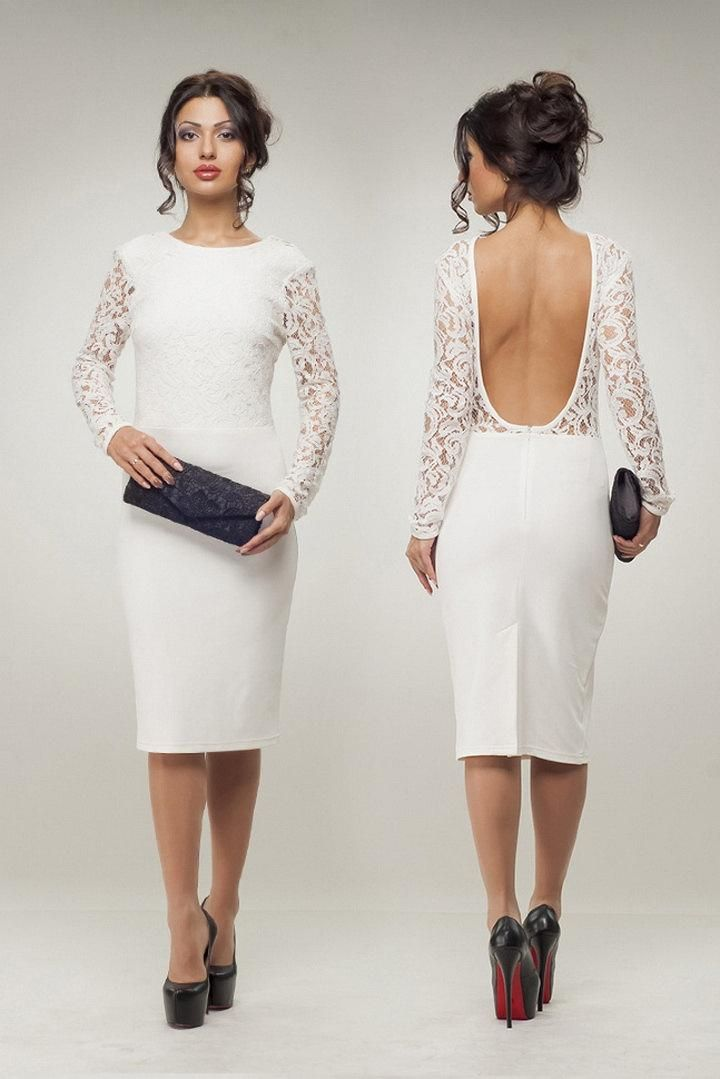 Short Nude Satin White Lace Wedding Party Guest Cocktail Dress ...