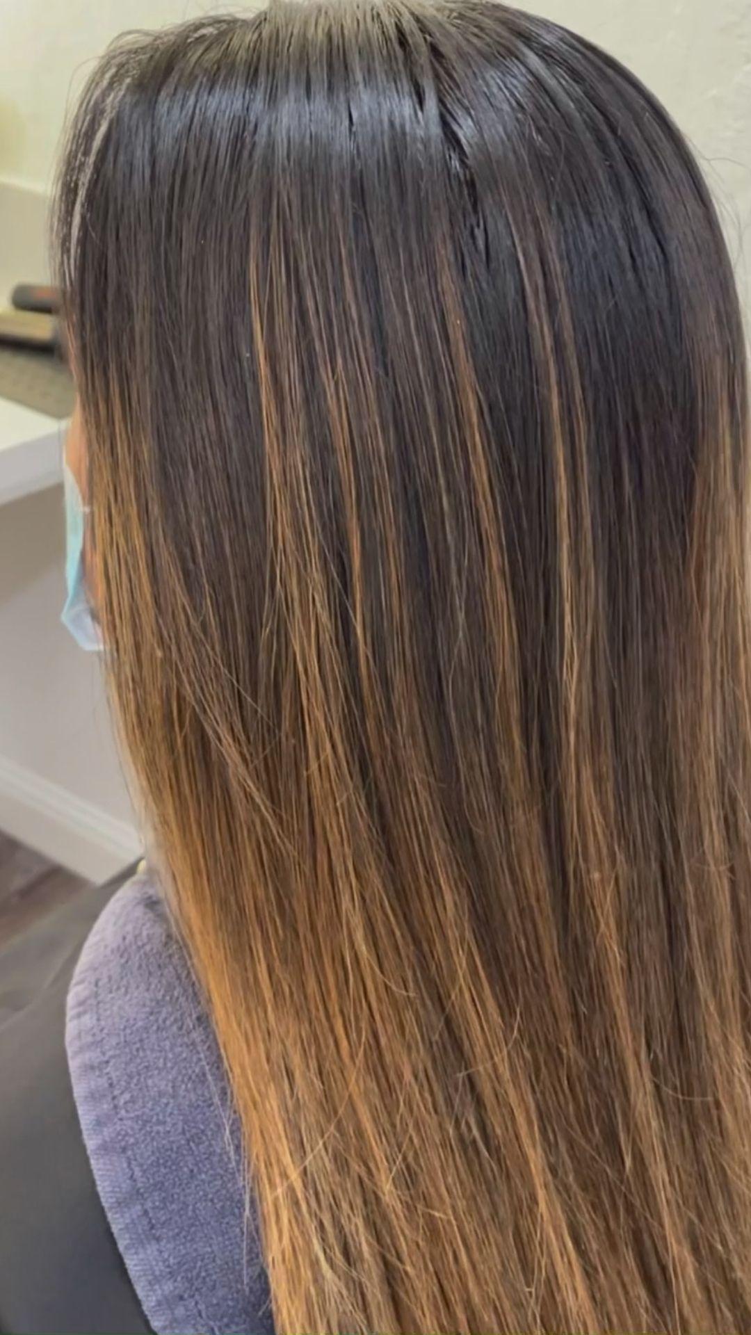 Highlights on dark brown hair