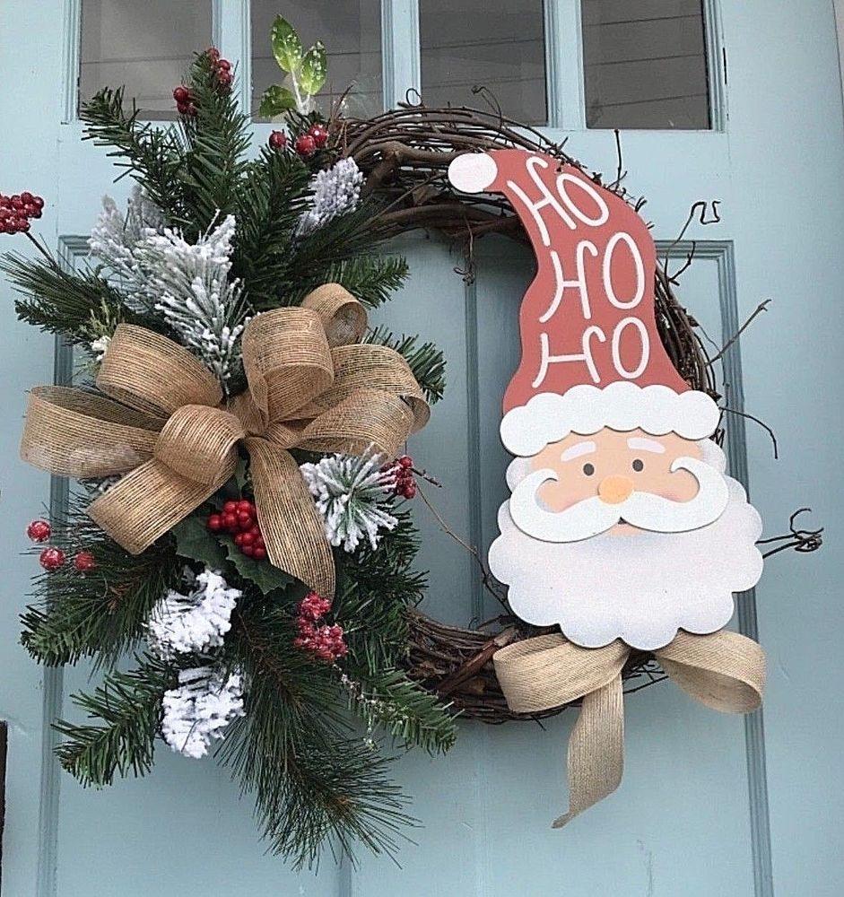 NeevHo Ho Ho Round Christmas Ornament Traditional Santa Wreath Holiday Decor