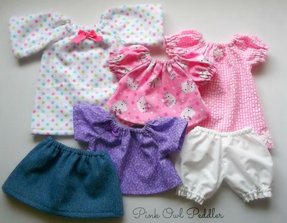 Doll Clothes Set for 12 inch Doll Waldorf or Other Baby Dolls- Complete Wardrobe Peasant Style
