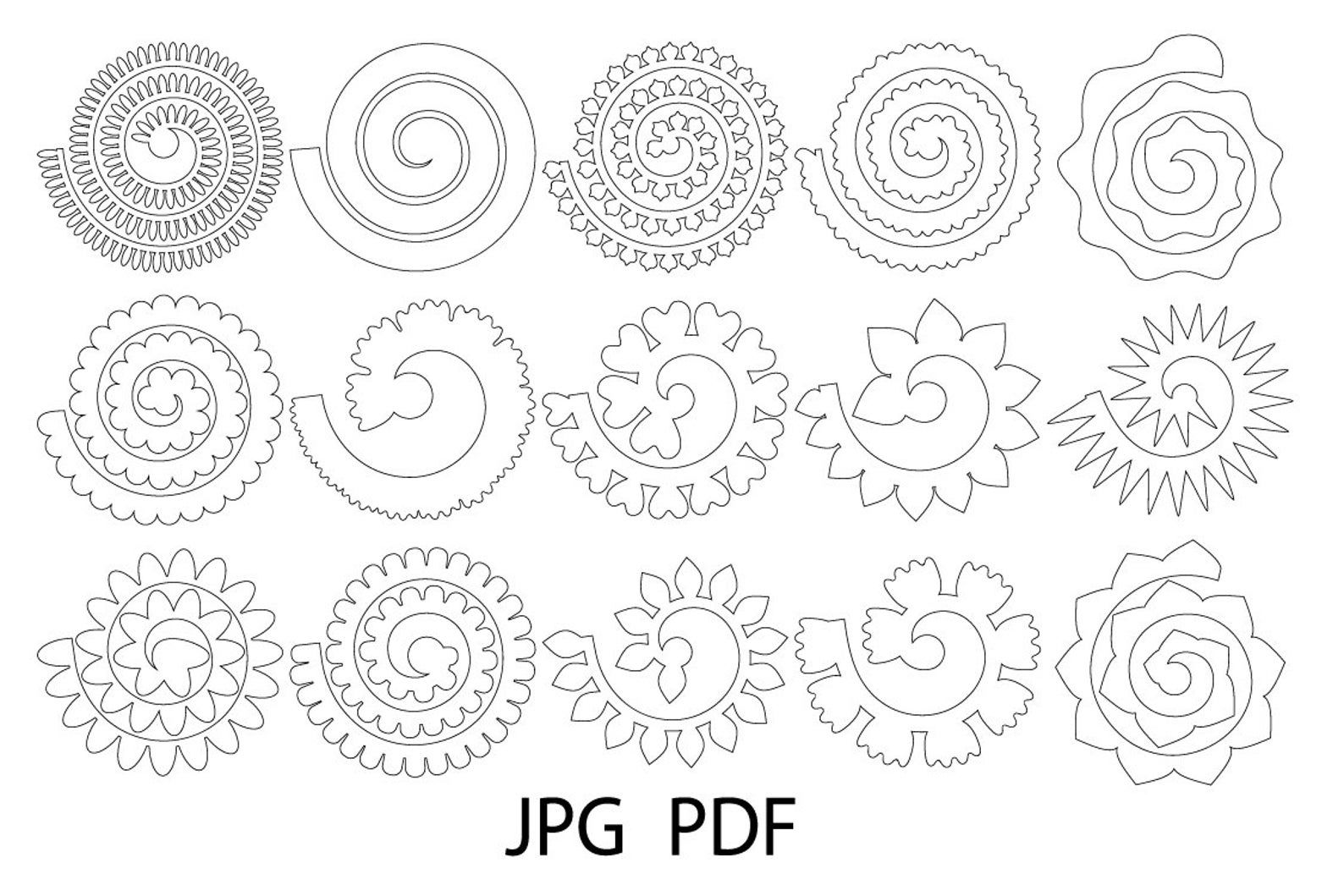 Rolled Flower Svg, Flowers Template, Rolled Paper Flowers Svg, Flowers svg, Rolled Flower Cut File, 3d Rose Svg, Rolled Paper Flower,Origami