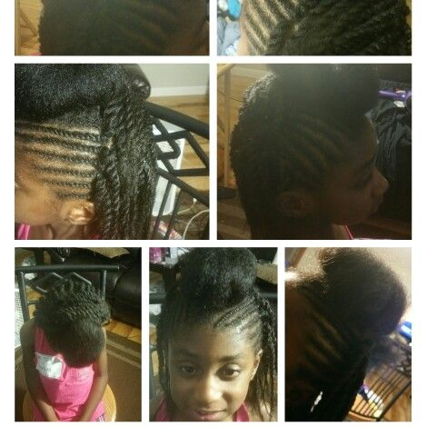 Black girl natural hair two strand twist with bun and twist out