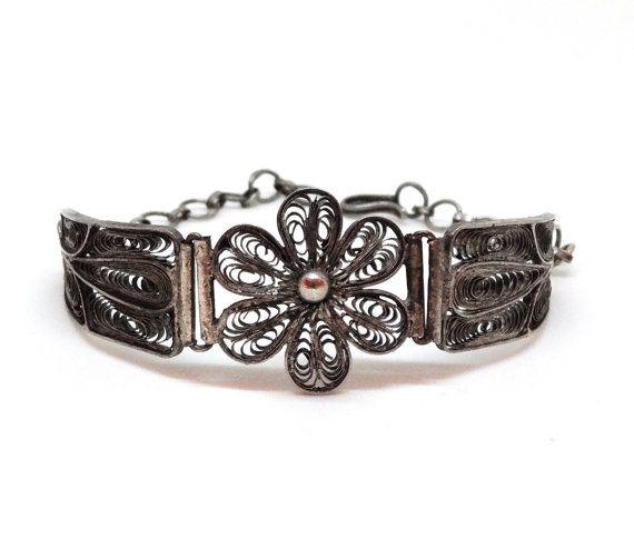 Antique Silver Filigree Bracelet Large Flower Center Old Cannetille ...