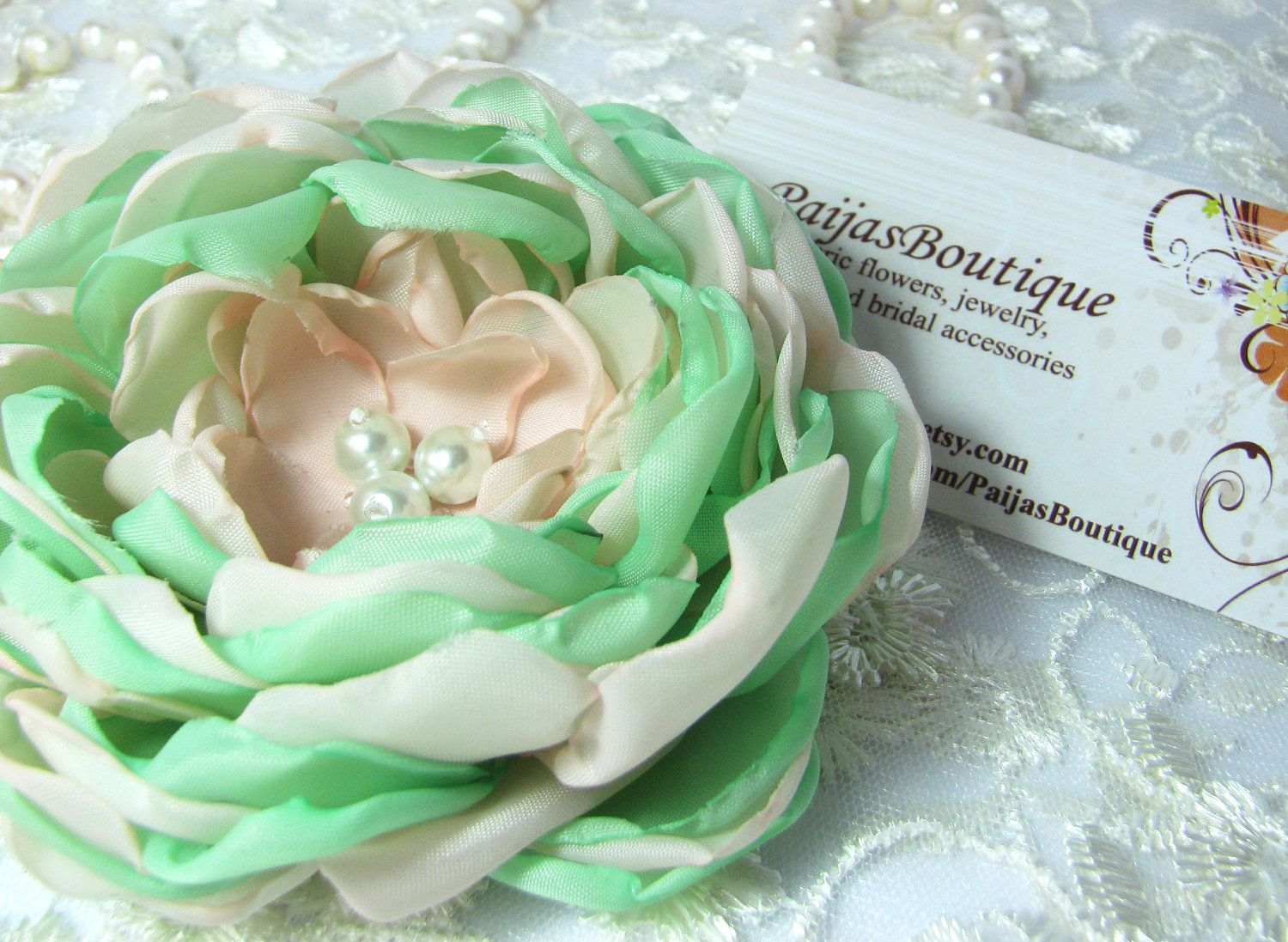 Pink and mint fabric flower for sash, very trendy colours.