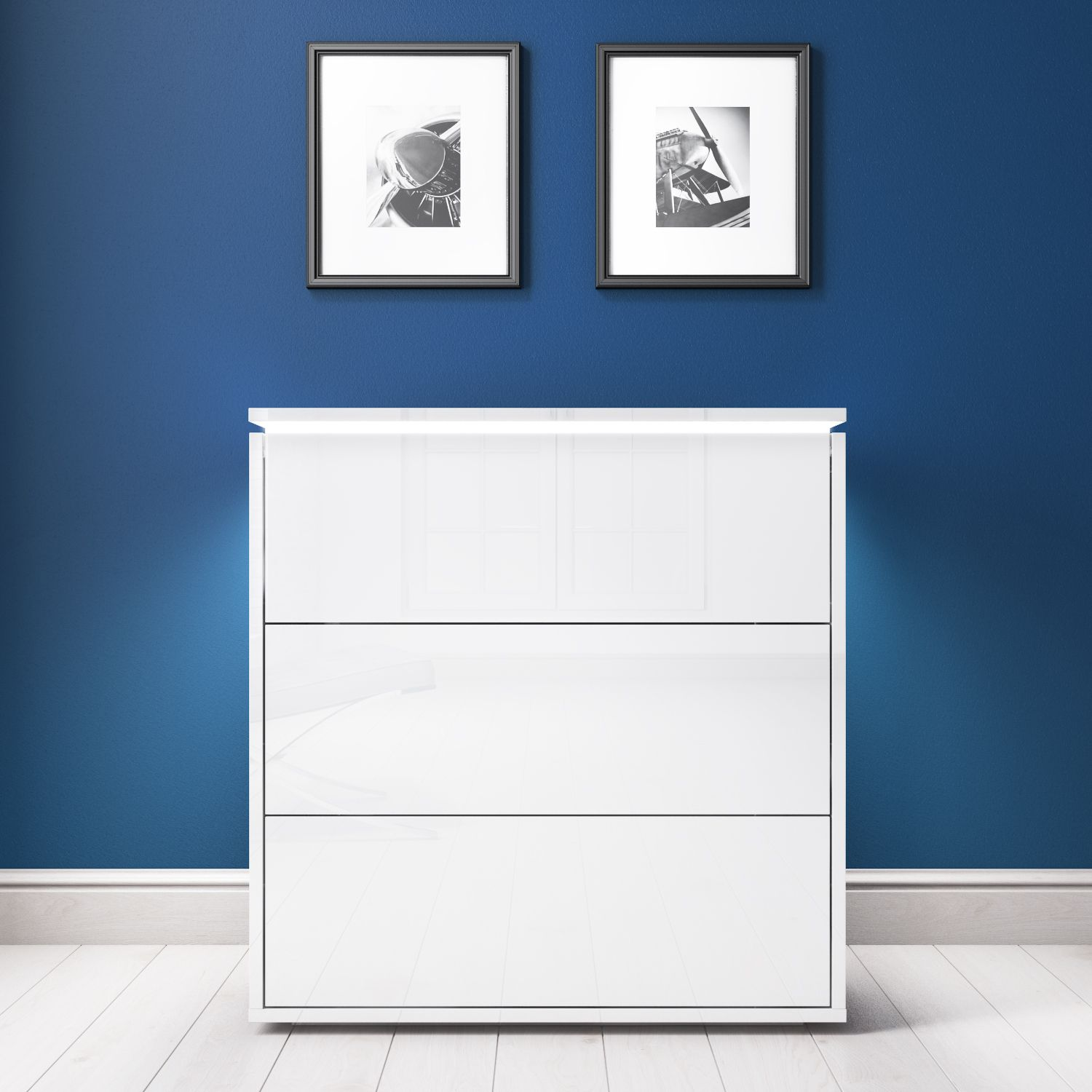 White High Gloss Chest of Drawers with LED Lights