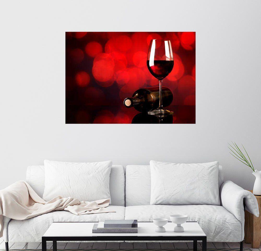 Wandbild »Rotwein im Weinglas und Flasche«