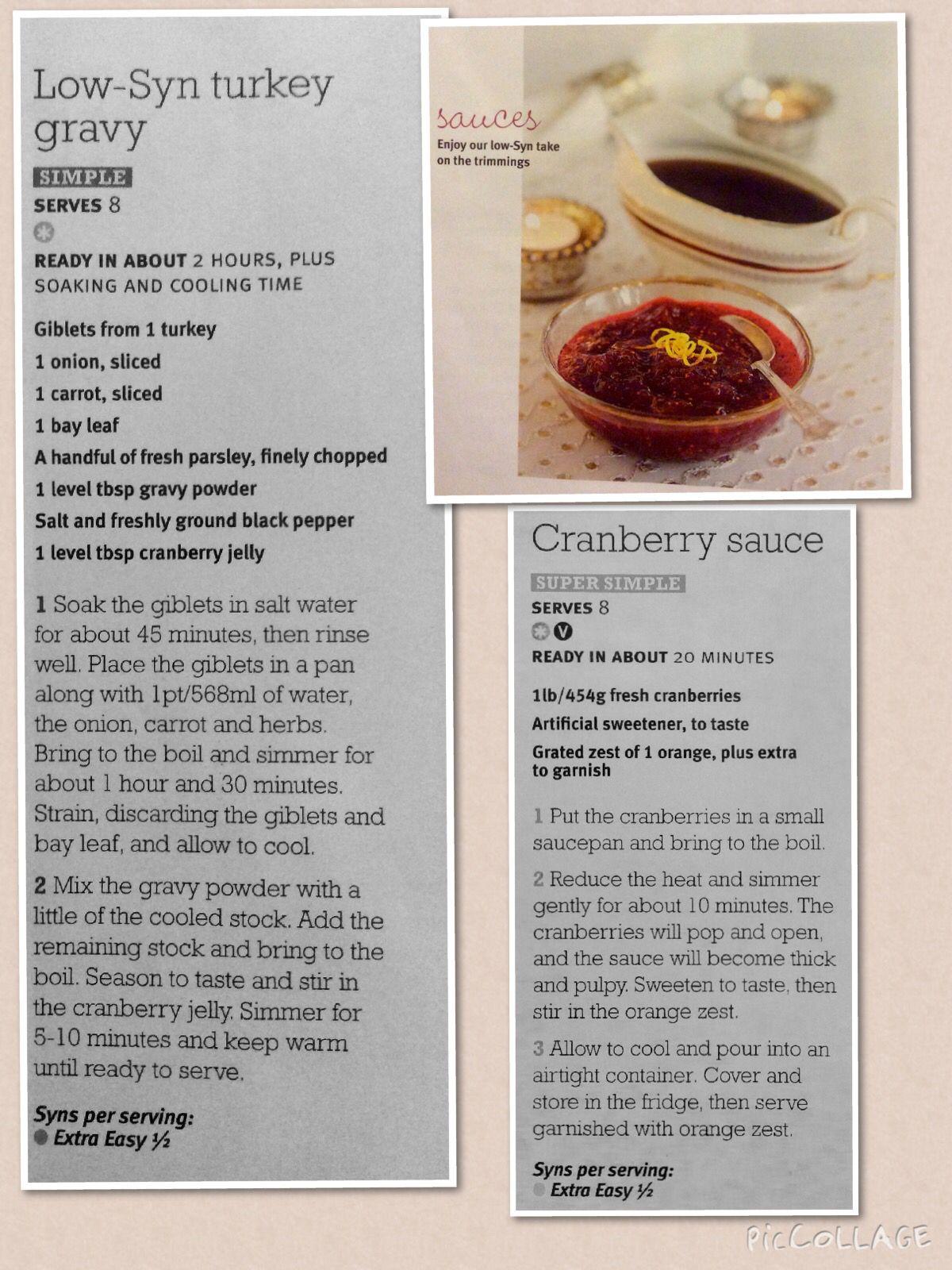Low Syn Turkey Gravy And Cranberry Sauce Turkey Gravy Turkey