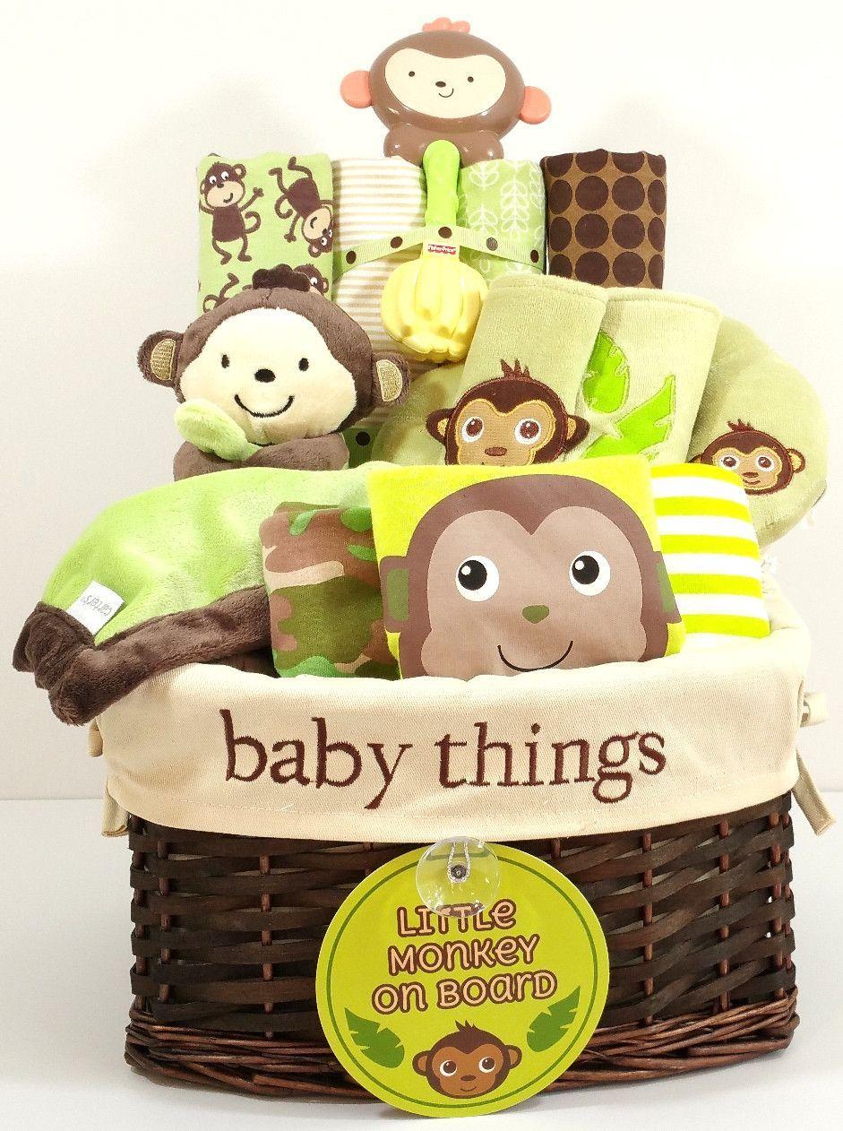 My Little Monkey Gender Neutral Baby Gift Basket Gender Neutral Baby Gifts Basket Neutral Baby Gifts Gender Neutral Baby Gifts