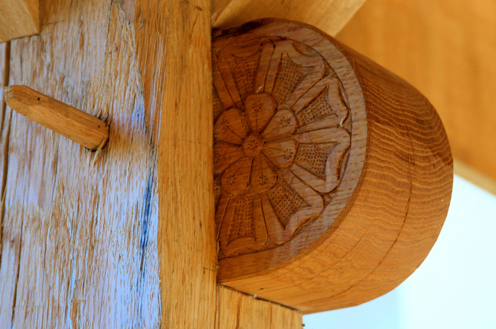 Close up of woodwork on breezeway connecting Manor House to Guest House, Mirbeau Inn & Spa at The Pinehills