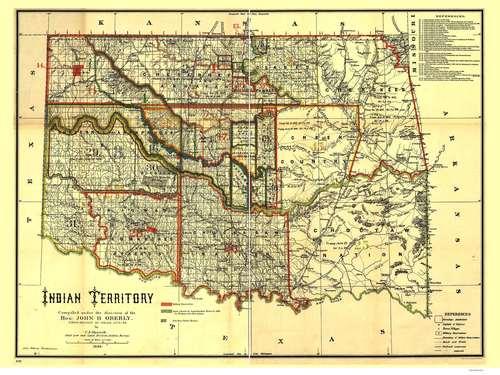 "1872 Indian Territory ~ Oklahoma Map Print 16/"" x 20/"""