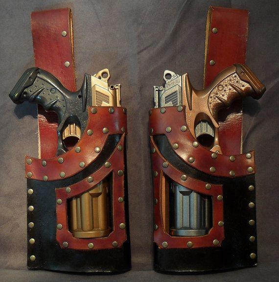 Steampunk Nerf N-Strike Leather Gun Holster Pair