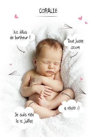 Faire-part de naissance Certificat nuages girly - Popcarte