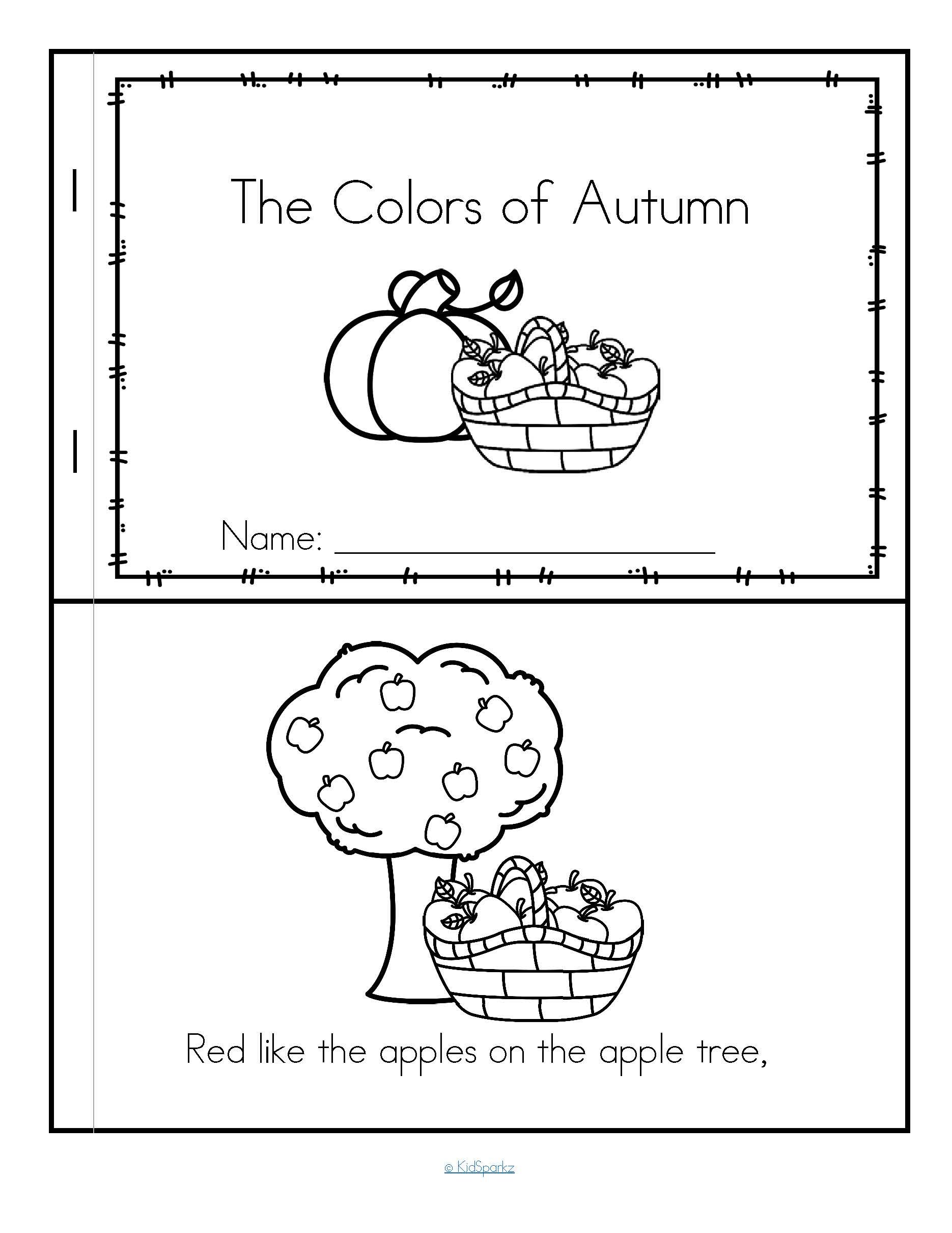 Fall Colors Poem Emergent Reader In Color And B W Free