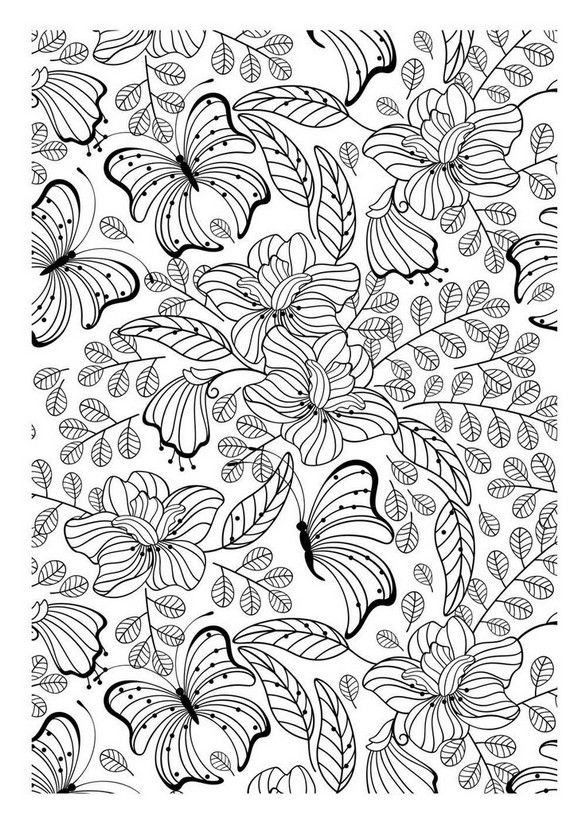 free coloring page coloring adult butterflys another image to print and to color filled with pretty leaves flowers and butterflies certainly an