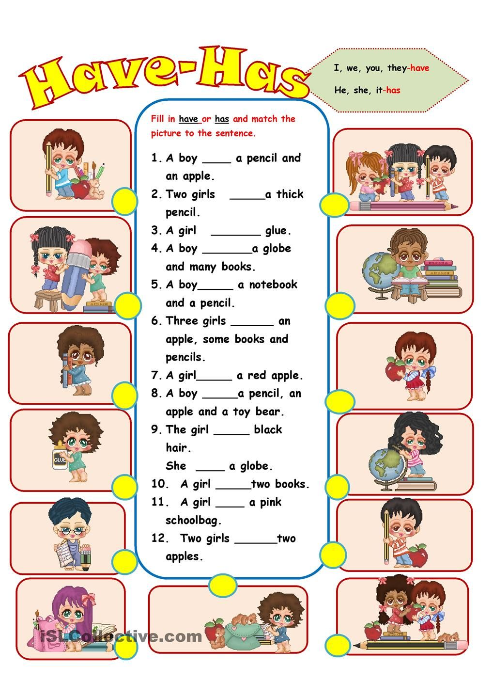 Resultado de imagen de have+worksheet | Education ...