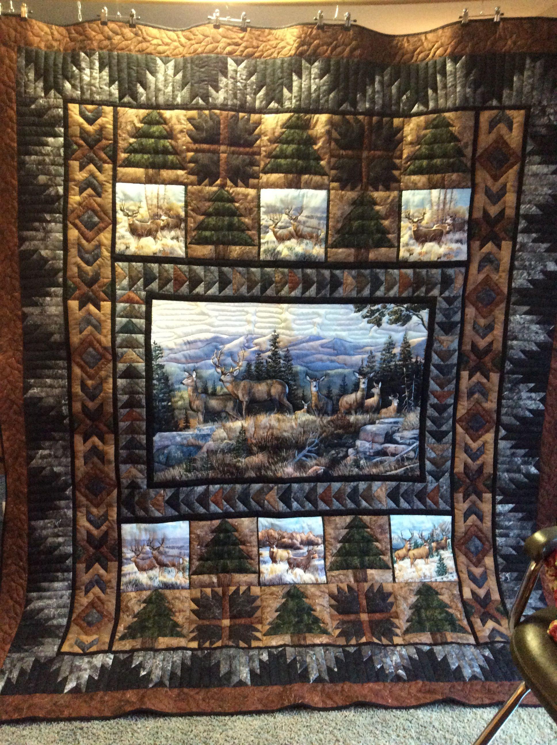 Beautiful Deer Quilt Deer Quilt Fabric Panel Quilts