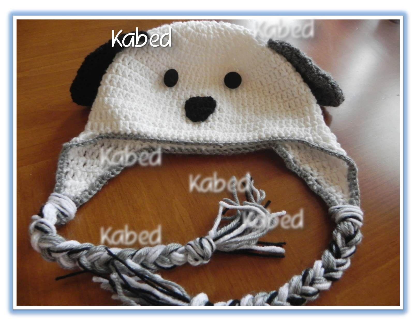 gorro de perrito para nin@ hecho a mano en crochet
