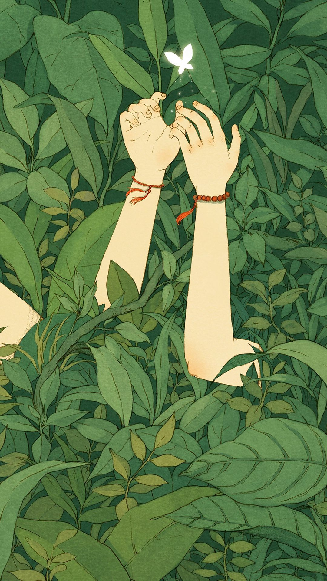 Green Wood Forest Love Butterfly Illustration Art IPhone 6 Wallpaper