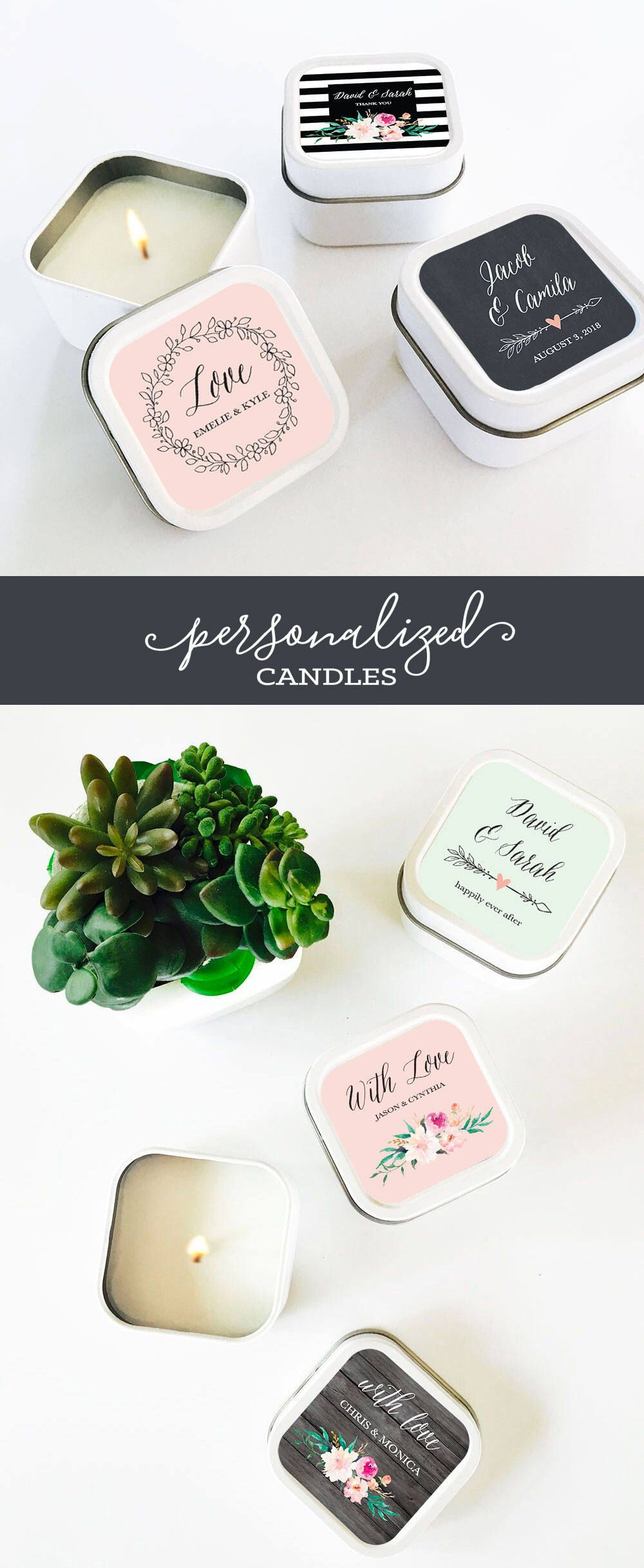 Candle Favors - Wedding Favor Candles - Personalized Candles ...