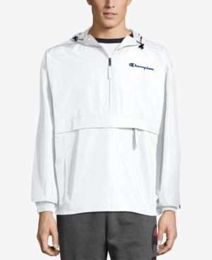 97436587bcff Champion Men s Packable Half-Zip Hooded Water-Resistant Jacket - White 2XL