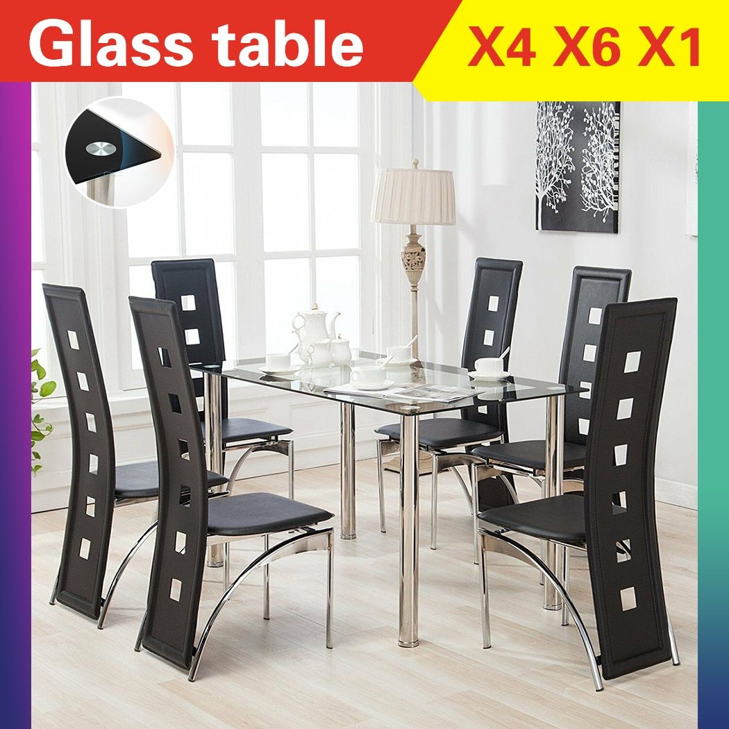 120 70 75cm Dining Table And Chair Set Stainless Steel Glass Table With 6pcs Pvc B Glass Dining Table Set Dining Room Table Set Pedestal Dining Room Table