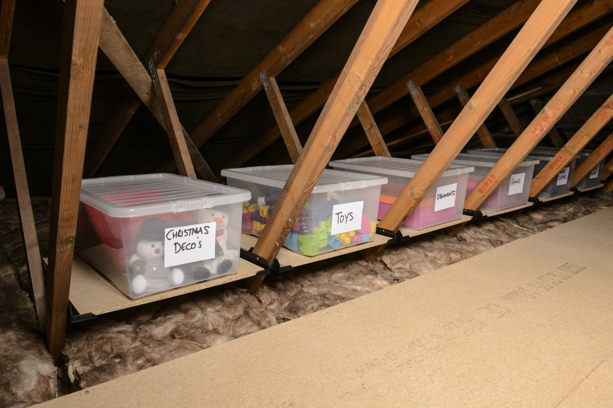How To Make The Most Of Your Loft For Storage 6 Steps To A Well Organised Loft Real Homes Loft Storag In 2020 Loft Storage Attic Storage Solutions Attic Renovation