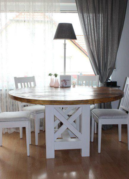 Esstische Esstisch Rund Landhaus Tisch Bauholz Weiss Ein