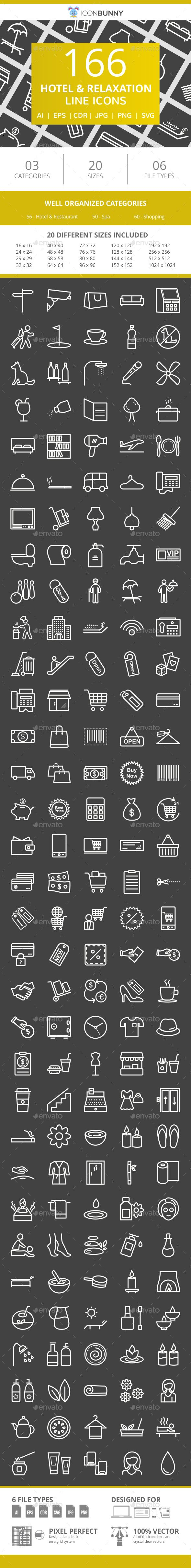 166 Hotel Relaxation Line Inverted Icons Icon Line Icon Best Icons