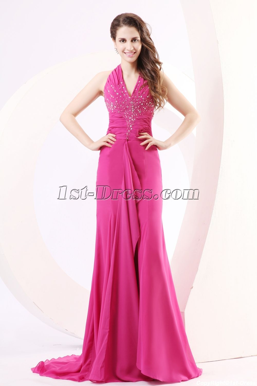 Fuchsia Backless Sexy Prom Dresses with Train:1st-dress.com