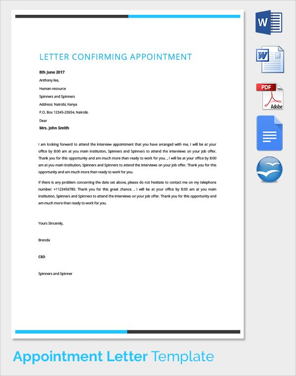 sample appointment confirmation letter template format word bundle - letter format on word
