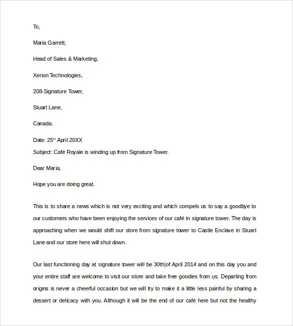 Sample Closing Business Letter Documents Pdf Word Closure For