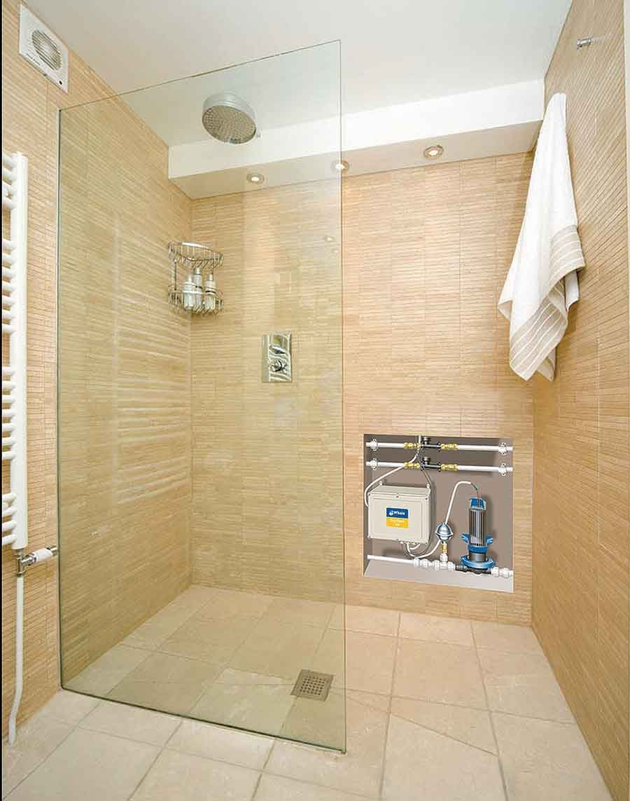 Large Impey Wetroom Shower With Fixed Glass Shower Screen For Easy