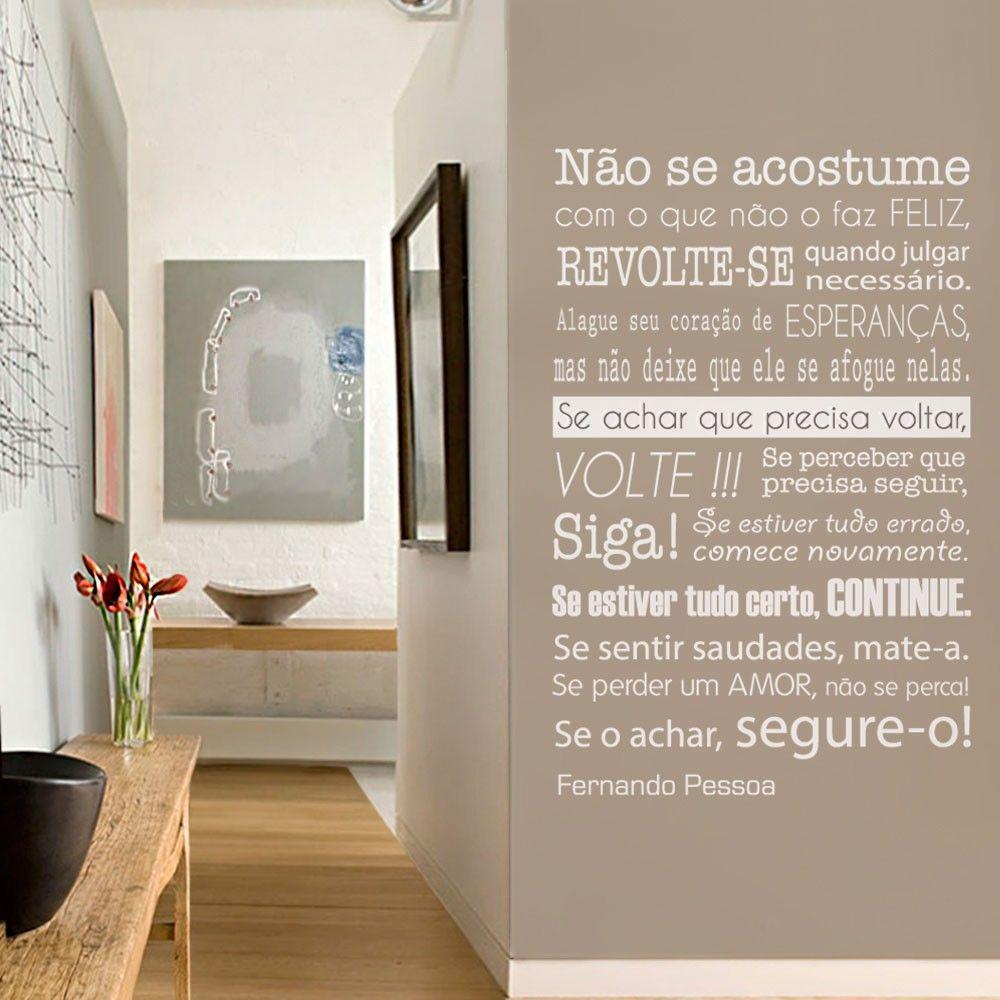 Adesivo De Parede Adesivo De Parede Frase Fernando Pessoa Grudado  -> Adesivos Decorativos Para Sala De Jantar