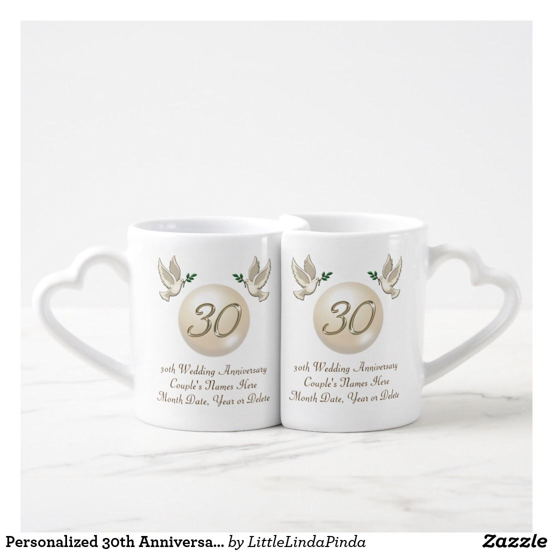 Personalized 30th Anniversary Gifts For Friends Coffee Mug Set