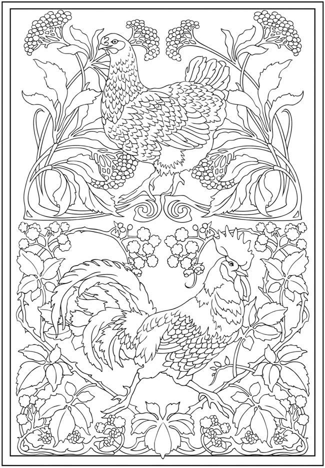 Creative Haven Art Nouveau Animal Designs Coloring Book Dover Publications By Tina Turner