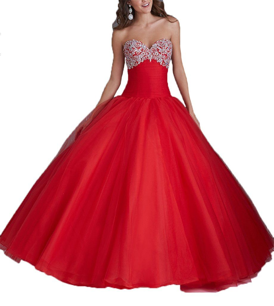 Dexin womenus beaded sweetheart bridal gowns quinceanera prom dress