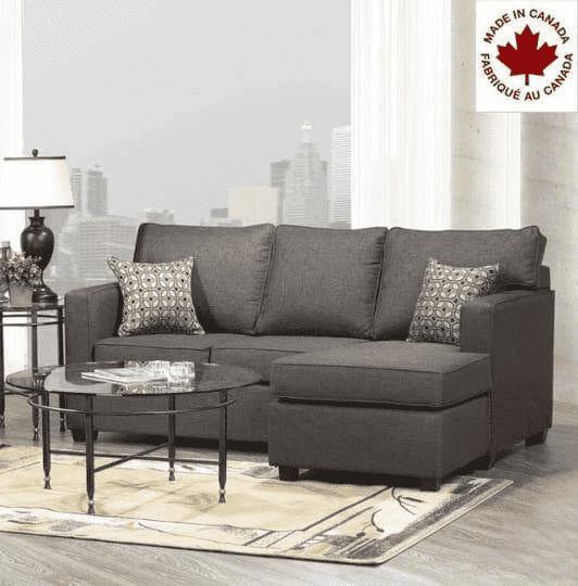Aman Burnaby Grey Fabric Condo Sectional Sofa Sectional Sofa Wholesale Furniture Furniture